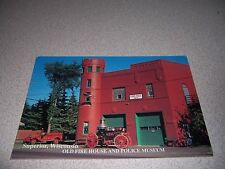 OLD FIRE HOUSE & POLICE MUSEUM SUPERIOR WISCONSIN WI. VTG POSTCARD - FIRE ENGINE