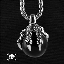 【from Usa】Rocker Biker Dragon Claw Artificial Agate Ball Stainless Steel Pendant