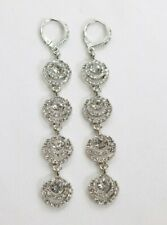 Authentic Givenchy Silver Tone Clear Crystal Leverback Drop Earrings