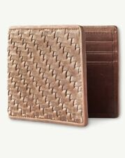 TOMMY BAHAMA WOVEN LEATHER Slim Fold Bifold Wallet, Tan BN with GIFT BOX $78