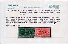 C02 - R.S.I.1944 - SEGNATASSE - i n. 19 e 20 + omaggi - certficato RAYBAUDI