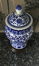 VINTAGE BLUE/WHITE CHINESE TEMPLE JAR WITH LID ON CARVED HARDWOOD STAND
