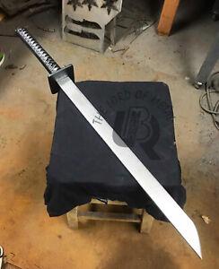 UBR CUSTOM HANDMADE 1095 CARBON STEEL SAMURAI KATANA TANTO SWORD WITH SCABBED