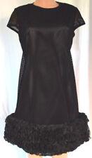 ROLAND NIVELAIS Black Hem Ruffle Silk with Laser Cut Velvet LIke Size 44
