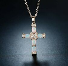 Easter Cross Necklace Opal Gemstone Rose Gold Rhinestone Religious Jewelry