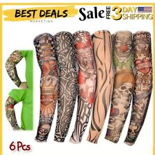 Tattoo Full Arm Cover Fake Temporary Sleeve UV Sun Protection Outdoor Sports 6pc