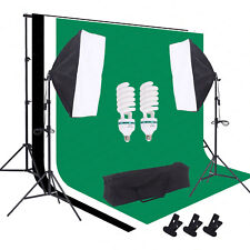 Photo Photography Studio Lighting Kit Softbox Light Stand Muslin Backdrop Stand