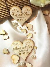 Personalised wooden wedding favours; heart; shabby; set of 10 table decoration
