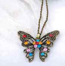Golden Butterfly Necklace With Colorful Crystals