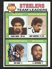 1979 Topps Tony Dungy Signed Football Leaders Card #19 Steelers HOF COA