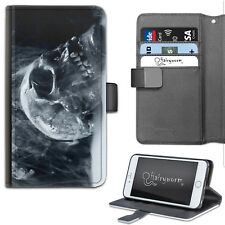 SMOKING SKULL PHONE CASE, LEATHER WALLET FLIP CASE, COVER FOR SAMSUNG, APPLE ETC