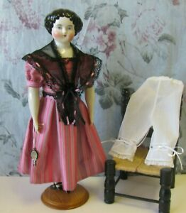 """ANTIQUE STYLE GOWN, FICU & DRAWERS FOR A CHINA/HURET/FASHION 16 """" DOLL"""