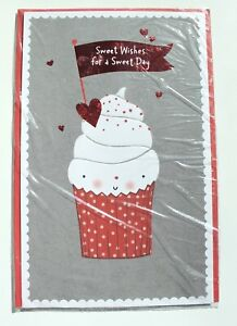 Carlton Cards Cupcake Valentine's Day Card with Glitter Envelope Included