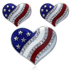 4th of July USA American Flag Patriotic Design Heart Ring Stud Post Earrings Set