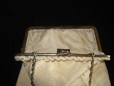 VINTAGE HANDMADE CLOTH BAG PURSES / HANDBAGS W/ 3 CHANGEABLE COVERS /METAL CHAIN