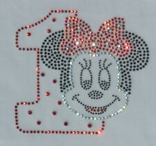 Red Minnie Mouse 1st Birthday iron on Disney rhinestone transfer applique decal