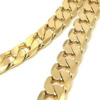 """10mm Mens 24k Yellow Gold Filled Necklace Curb Chain GF Jewelry 23.6"""""""