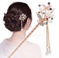 Lots Chinese Style Rhinestone Hair Chopsticks Hair Stick Hairpin Chignon Pin