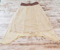 Flying tomato Lace Embroidered Skirt Size Small Shark Bite Hem Hippie Boho Ivory