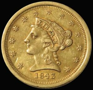 1843 O GOLD NEW ORLEANS $2.5 LIBERTY HEAD SMALL DATE QUARTER EAGLE  XF