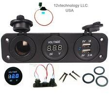 Triple USB Charger + Blue Voltmeter +12 V Socket Panel Marine Outlet w/ Jumpers