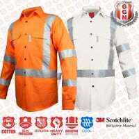 HI VIS WORK SHIRT SAFETY FULL ORANGE WHITE COTTON DRILL,3M CROSS BACK REFLECTIVE