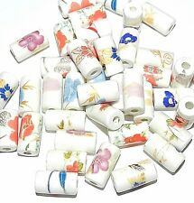 CPC214f Handmade Assorted Multi-Color White Porcelain 16mm Tube Beads 40pc
