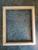 "Nice Vintage White Gold Trim Wood Picture Frame Photo Holds 8""×10"" MCM"