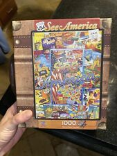 NEW 1000 pc jigsaw puzzle SEE AMERICA POSTERS MAP SUITCASE BOX Poster