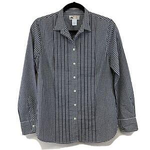 J.CREW Women's Thomas Mason Size 4 Button Up Tuxedo Shirt Pleated GINGHAM