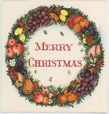 VINTAGE CHRISTMAS PEAR APPLE GRAPES PINEAPPLE CHERRY CURRANTS WREATH CARD PRINT