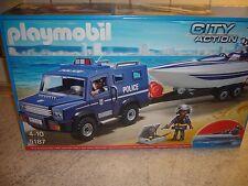 Playmobil 5187 Polizei-Truck mit Speedboot und Unterwassermotor City Action Neu