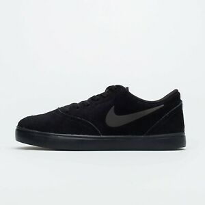 Mens Nike SB Check Suede (GS) Trainers AR0132 001 Triple Black Size UK 3.5_4_4.5
