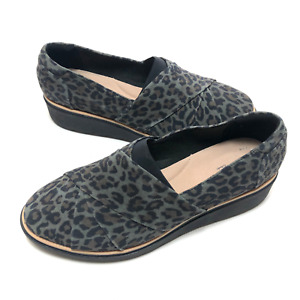 Clarks Collection Womens Grey Sharon Form Leopard Suede Loafer Shoes Sz 11 Wide