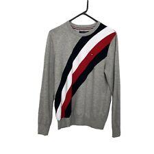 Tommy Hilfiger Sweater V-Neck Side Stripes Size M Grey