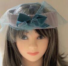 Vintage 1940's Grey Satin Hat - Decorated with Blue Netting & Velveteen Bow