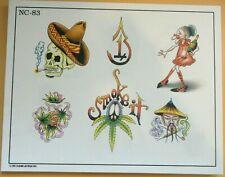 2002 Don Nolan Spaulding & Rogers Color Tattoo Flash Sheet NC-83 Skull MJ Leaf