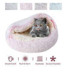 Soft Warm Long Plush Pet Cave Bed Dog Cat Puppy Kennel House Round Sleeping Nest