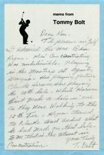 TOMMY BOLT signed handwritten letter (on BEN HOGAN) Golf, Masters, Claude Harmon