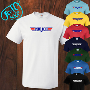 NEW PERSONALISED TOP GUN INSPIRED T-SHIRT, 80s NOVELTY,  Adult & Kids, 8 Colours