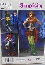 Simplicity 1091 Misses Poison Ivy Harley Quinn Costumes Sewing Pattern Sz 6-14