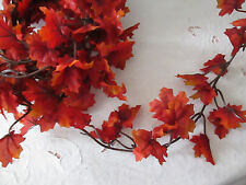 Simply Fall - Autumn Silk SMALL Maple Leaf Garland, Red  9 Ft. L New