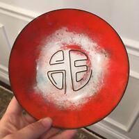 Vintage Mid Century Modern Abstract Enamel Dish Plate