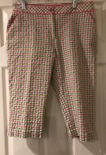 Womens EP PRO Stretch  Golf Capris  Pink/White Green Plaid Print Sz 8= 32x16