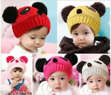 Infant Girls Boy Baby Toddler Solid Winter Warm Knit Hat Hairball Beanie Cap