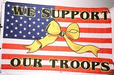 "We Support Our Troops Yellow Ribbon 3 x 5"" Flag Banner Nwot"