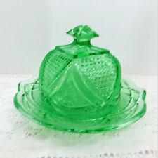 Vintage Green Round Dome Lid Butter Dish/Massachusetts U.S. Glass Pattern15054