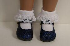 "Navy Blue Glitter Basic Doll Shoes For 16""- 17"" Sasha (Debs)"