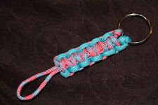 New Paracord Keychain - cotton candy, neon turquoise #F3