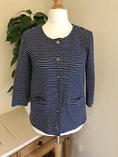 H&M Ladies Blue & White Striped CollarLess Blazer Jacket Nautical Sailor Size 12